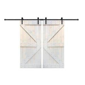 72 in x 84 in K Series Light Grey DIY Finished Knotty Pine Wood Double Sliding Barn Door Slab with Hardware Kit