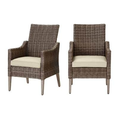 Rock Cliff Brown Wicker Outdoor Patio Stationary Dining Chair with CushionGuard Putty Tan Cushions (2-Pack)