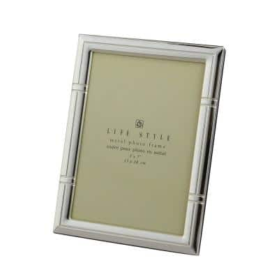 Silver Plated 5 in. x 7 in. Reed Border Lacquer Picture Frame