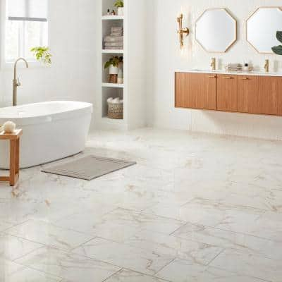 QuicTile 12 in. x 24 in. Calacatta Marble Polished Porcelain Locking Floor Tile (9.6 sq. ft. / case)