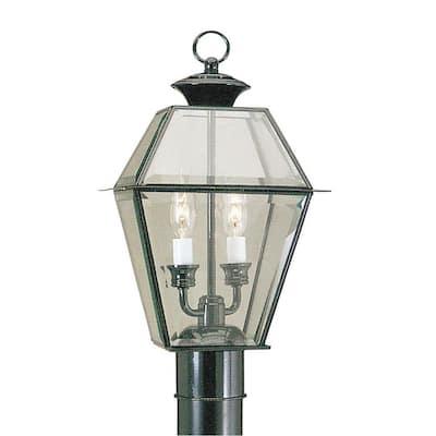 Westover 2 Light Black Outdoor Post Top Lantern