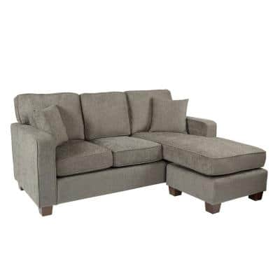 Russell 3-Piece Taupe Polyester 4-Seater L-Shaped Sectional Sofa with Wood Legs