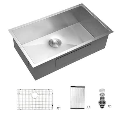 18-Gauge Stainless Steel 33 in. x 19 in. D Single Bowl Undermount Kitchen Sink