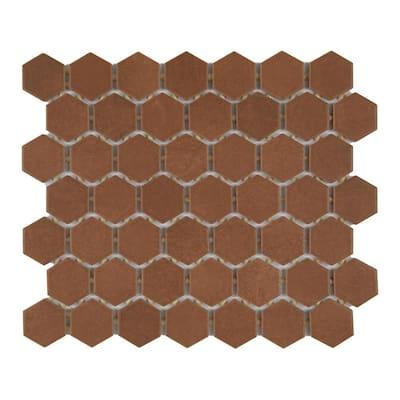 Moroccan Concrete Terra Cotta 11 in. x 10 in. Glazed Ceramic Hexagon Mosaic Tile (0.81 sq. ft./Each)