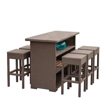 Dark Brown 7-Piece Wicker Rectangular Outdoor Bar Height Dining Set