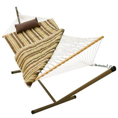 11 ft. Polyester-Cotton Rope Hammock Pad and Pillow with Stand