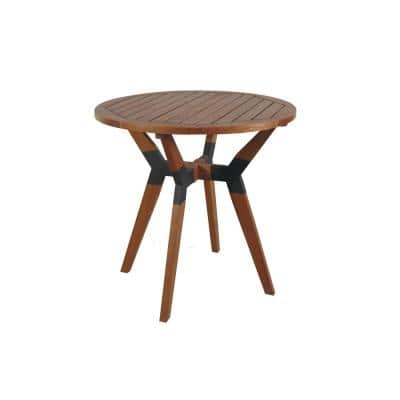 Round 30 in. Eucalyptus and Metal Outdoor Bistro Table