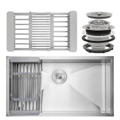 Handmade Undermount Stainless Steel 30 in. x 18 in. Single Bowl Kitchen Sink with Drying Rack