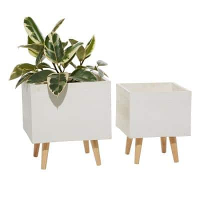 13 in. and 15 in. White Square Fiberclay Planters (Set of 2)