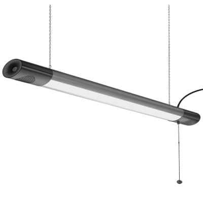 42 in. Integrated LED Black Shop Light with Bluetooth Speakers and Pull Chain 40-Watt 3600 Lumens 4000K Bright White
