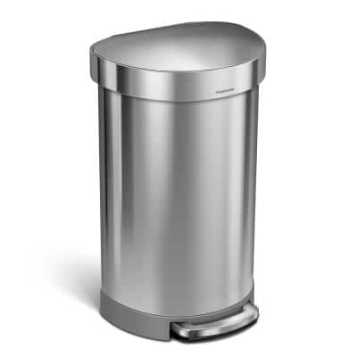 Simplehuman 45 Liter Fingerprint Proof Brushed Stainless Steel Semi Round Step On Trash Can Cw2030 The Home Depot