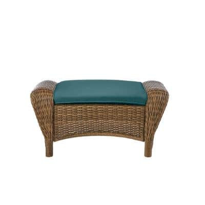 Beacon Park Brown Wicker Outdoor Patio Ottoman with CushionGuard Charleston Blue-Green Cushions