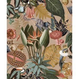 A Tropical Soiree Gold Botanical Paper Non-Pasted Washable Wallpaper Roll (Covers 57 Sq. Ft.)