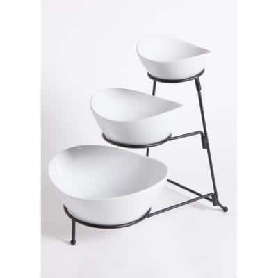 Gracious Dining 4-Piece, 3-Tier White Serving Bowl Set with Stand