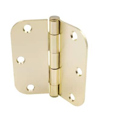 3-1/2 in. x 5/8 in. Radius Bright Brass Squeak-Free Door Hinge