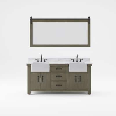 Paisley 72 in. W x 22 in. D Vanity in Grizzle Gray with Marble Vanity Top in White with White Basin and Mirror