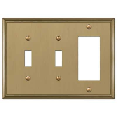Rhodes 3 Gang 2-Toggle and 1-Rocker Metal Wall Plate - Brushed Bronze