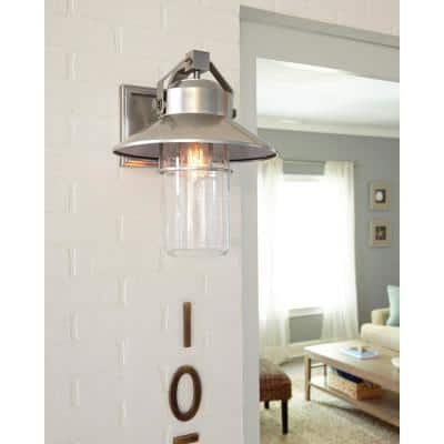 Boynton 1-Light Painted Brushed Steel Finish Outdoor 10.75 in. Wall Lantern Sconce