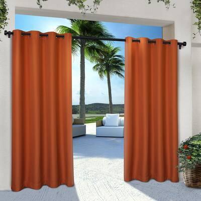 Mecca Orange Solid Grommet Room Darkening Curtain - 54 in. W x 96 in. L (Set of 2)