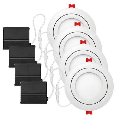 Slimline 4 in. White Integrated LED Recessed Kit (4-Pack)