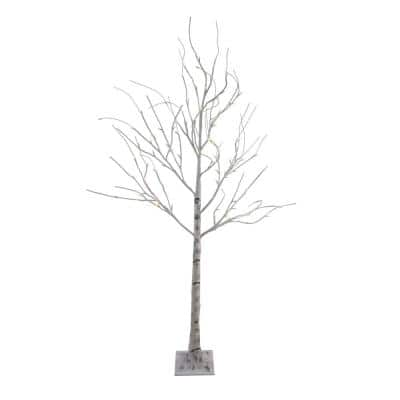 6 ft. Lighted Christmas Birch Twig Tree Outdoor Decoration - Warm White LED Lights