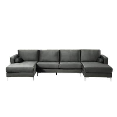 3-Piece Gray Velvet Symmetrical Sectionals with 2-Pillows U-Shape Upholstered Couch Sofa