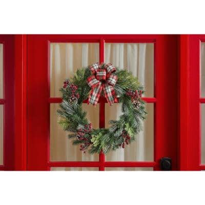 22 in Frosted Pine Artificial Christmas Wreath with Pinecones, Berries, and Burlap Bow