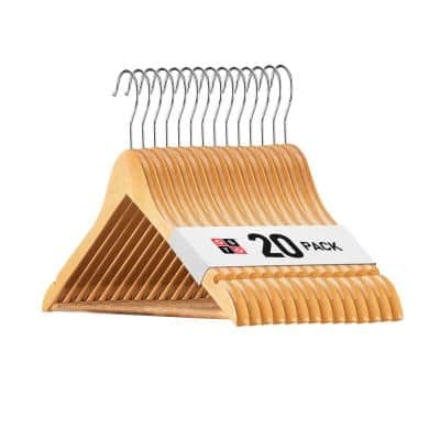 Natural Wooden Suit Hanger with Grooved, Non Slip Pant Bar 20-Pack