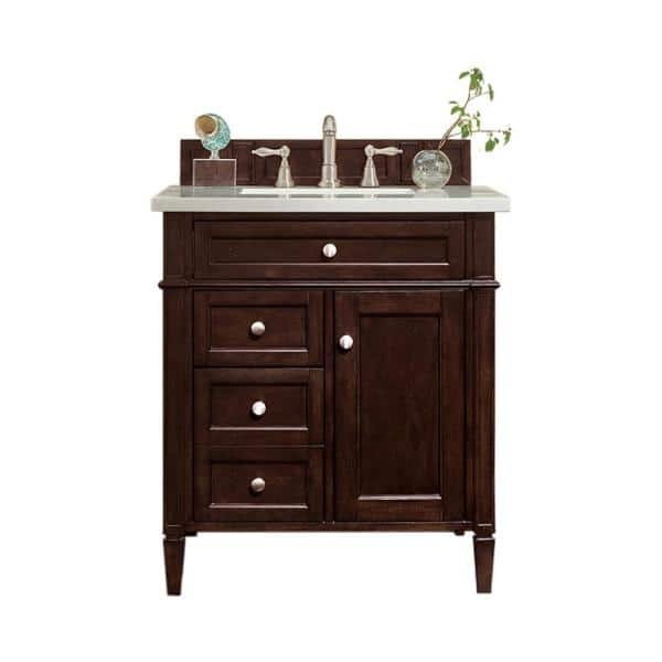 James Martin Vanities Brittany 30 In W Single Vanity In Burnished Mahogany With Solid Surface Vanity Top In Arctic Fall With White Basin 650v30bnm3af The Home Depot