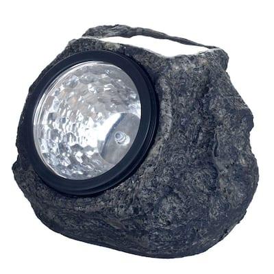 Solar Powered LED Grey Rock Landscaping Light (4-Pack)