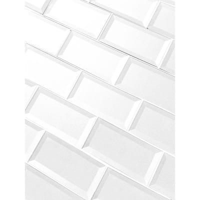Reverse Bevel White Subway 3 in. x 6 in. Glass Decorative Backsplash Wall Tile (14 sq. ft./Case)