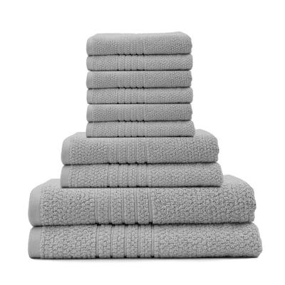 Softee 10-Piece 100% Cotton Bath Towel Set in Silver