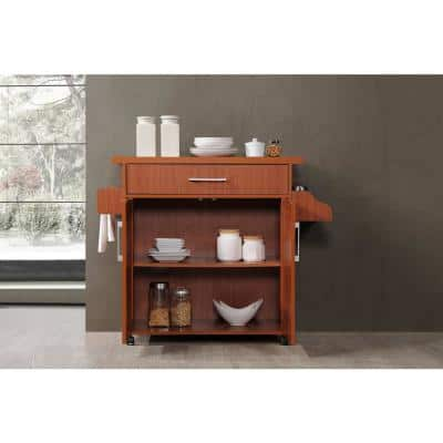 Cherry Kitchen Island with Spice Rack and Towel Holder