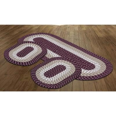 Country Braid Collection is Durable & Stain Resistant Reversible Burgundy 2 ft. x 6 ft. Striped 3-Piece Rug Set