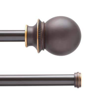 Fast Fit Birkin 66 in. - 120 in. Adjustabe 5/8 in. Decorative Window Double Curtain Rod in Oil Rubbed Bronze