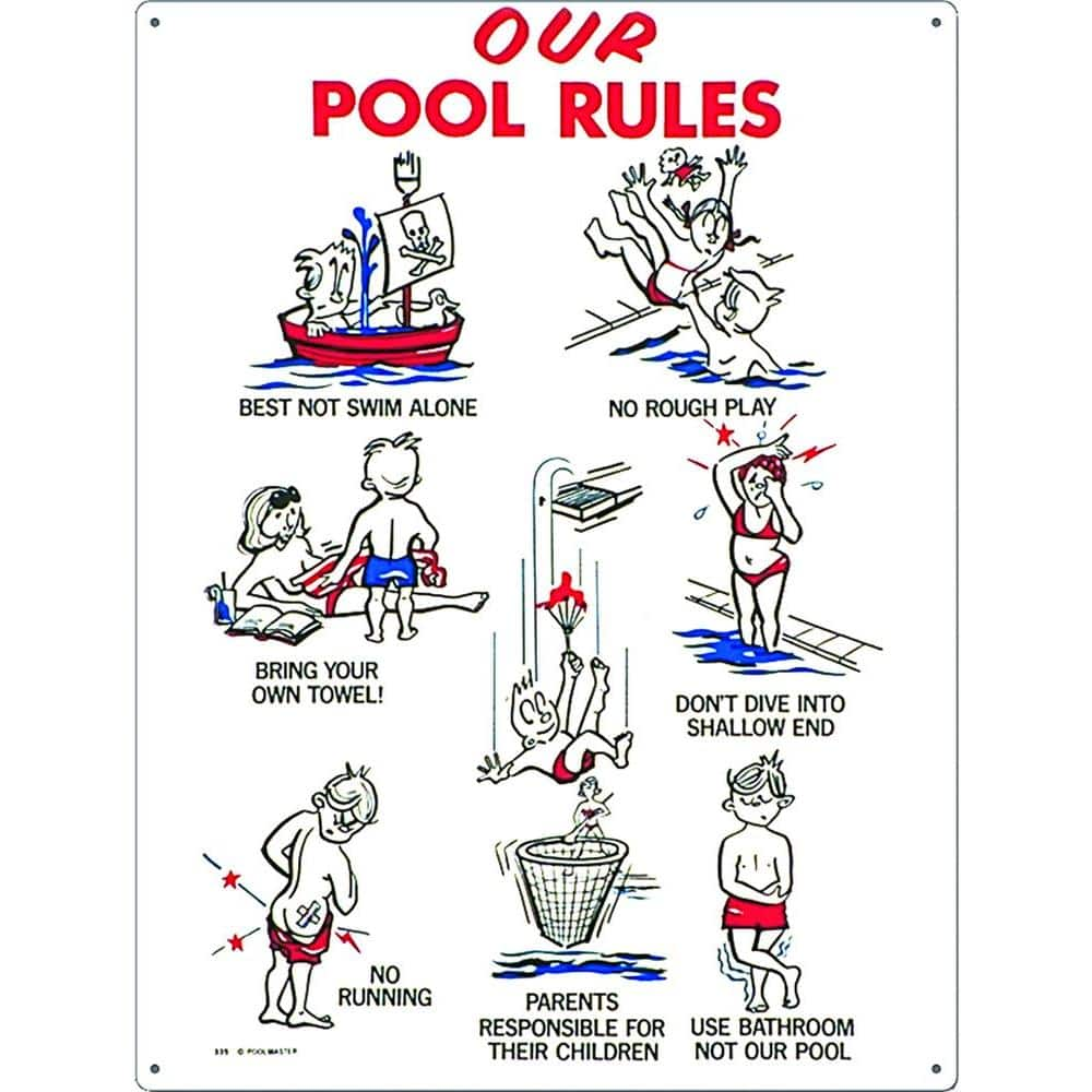 Poolmaster Our Pool Rules Swimming Pool Sign Kid Animation 41335 The Home Depot