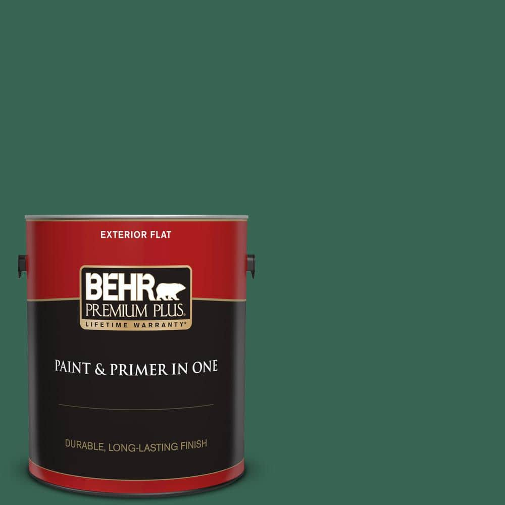 Behr Premium Plus 1 Gal M420 7 Billiard Green Flat Exterior Paint And Primer In One 430001 The Home Depot
