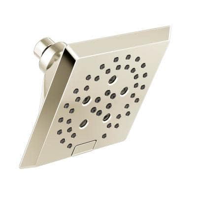 5-Spray Patterns 5.81 in. Wall Mount Fixed Shower Head with H2Okinetic Technology in Lumicoat Polished Nickel