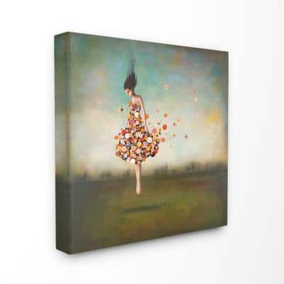 """24 in. x 24 in. """"Surreal Dress Made of Flowers in an Abstract Landscape Painting"""" by Duy Huynh Canvas Wall Art"""