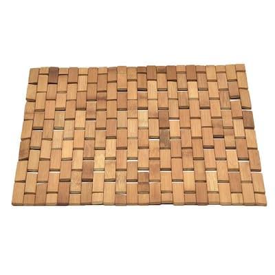 "Bath Bamboo Slats Roll-Up Foldable Shower Door Rug Anti-Slippery Natural 18""x 18"""