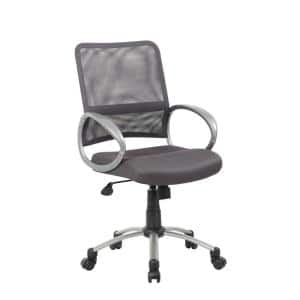25 in. Width Big and Tall Charcoal Gray Fabric Task Chair with Swivel Seat