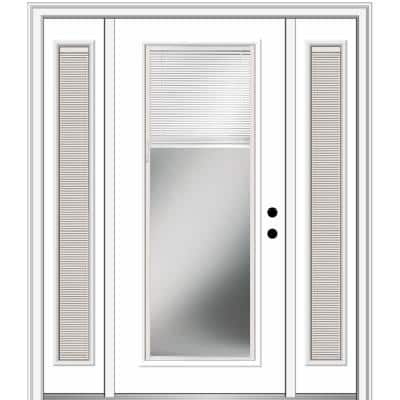 64.5 in. x 81.75 in. Internal Blinds Left-Hand Inswing Full Lite Clear Primed Steel Prehung Front Door with Sidelites