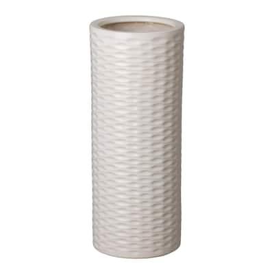 Round Relief White Ceramic Umbrella Stand