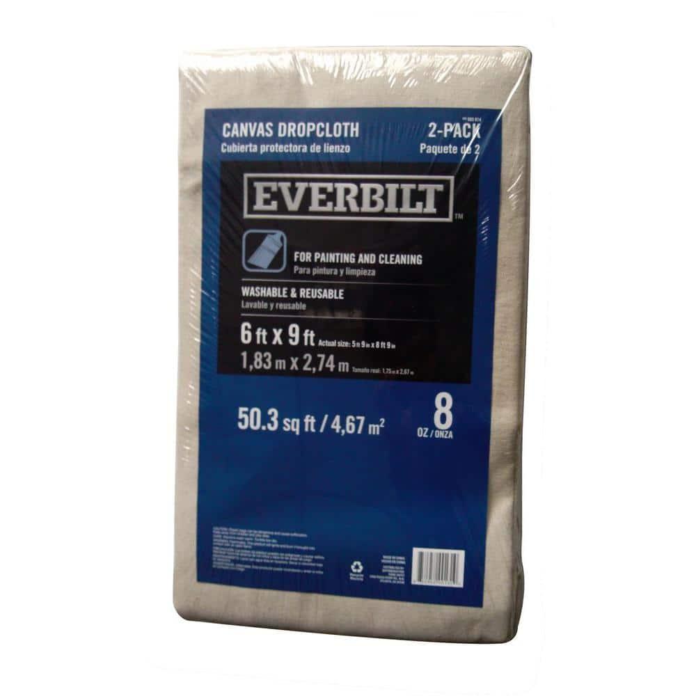 Everbilt 6 ft. x 9 ft. 8 oz. Canvas Drop Cloth (2-Pack)
