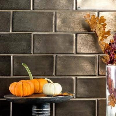 Delphi Subway Metallic Copper 3 in. x 6 in. Polished Wall Ceramic Tile (4 Sq. Ft. / Case)
