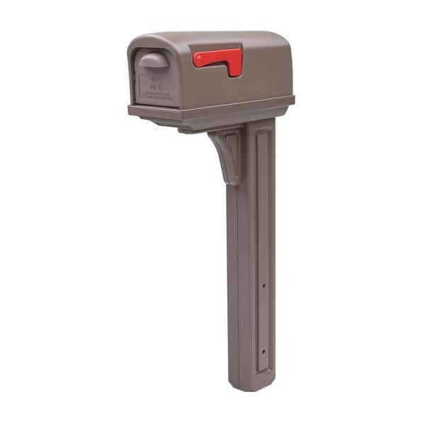 Gibraltar Mailboxes Classic All In One Medium Plastic Mailbox And Post Combo Mocha Gcl10000m The Home Depot