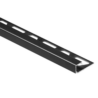Quadec Matte Black Textured Color-Coated Aluminum 1/4 in. x 8 ft. 2-1/2 in. Metal Square Edge Tile Edging Trim