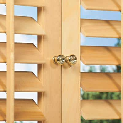 Light Teak 2-1/4 in. Plantation Real Wood Interior Shutter 35 to 37 in. W x 54 in. L