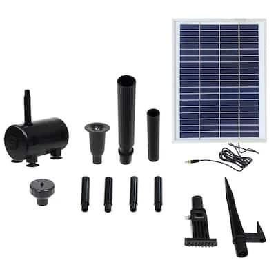 132 GPH Solar Fountain Pump and Solar Panel Kit with 2 Spray Heads