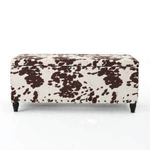 Tatiana Brown and White Milk Cow-Patterned New Velvet Storage Bench with Studs